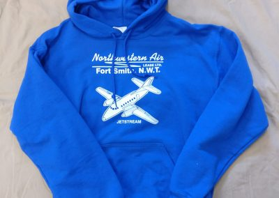 Blue hoodie with airplane logo