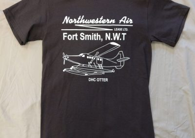Black t-shirt with airplane logo