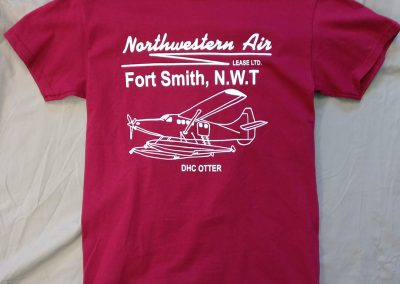 Red t-shirt with airplane logo