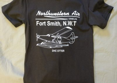 brown t-shirt with airplane logo