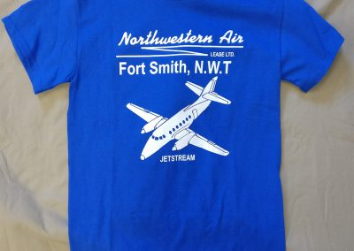 blue t-shirt with airplane logo